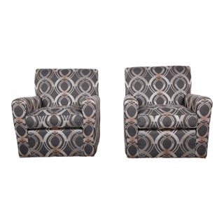 Contemporary Upholstered Swivel Lounge Chairs by Craftmaster, Pair For Sale