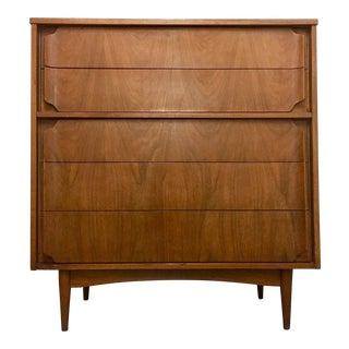 1960s Danish Modern Sculptured Tallboy Dresser For Sale