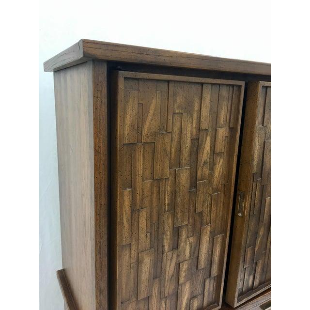 Vintage Mid-Century Brutalist Armoire Dresser - Image 4 of 8