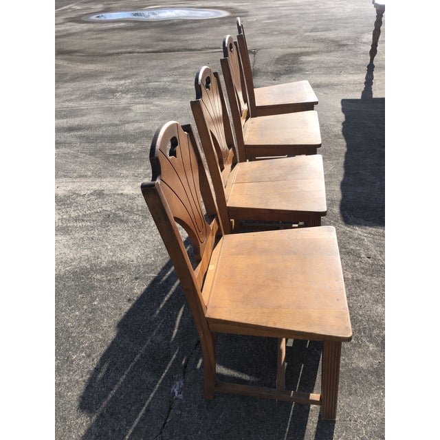 Art Deco Art Deco Style Wooden Side Dining Chairs -Set of 4 For Sale - Image 3 of 13