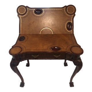 Maitland Smith Carved Mahogany Chippendale Folding Game Table For Sale