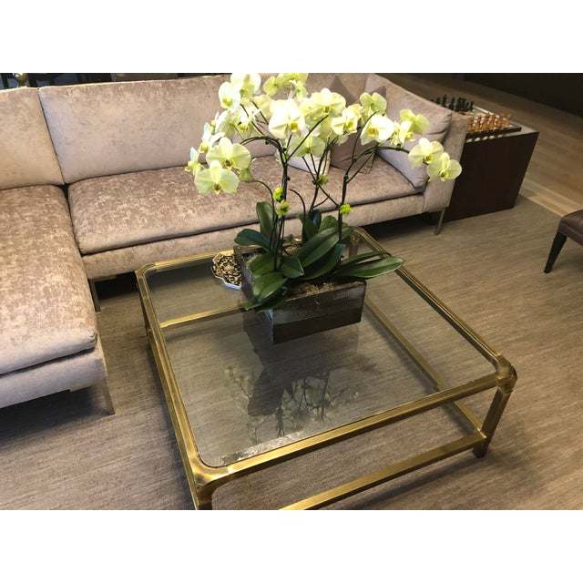 1960s Modern Mastercraft Brass Coffee Table With Glass Top For Sale In Chicago - Image 6 of 6