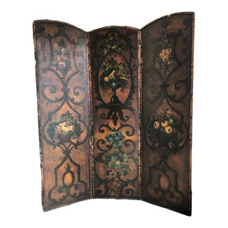 Antique Painted Leather 3 Panel Hinged Screen For Sale