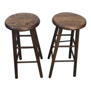 1970s Vintage Scandinavian Style Solid Wooden Stools For Sale