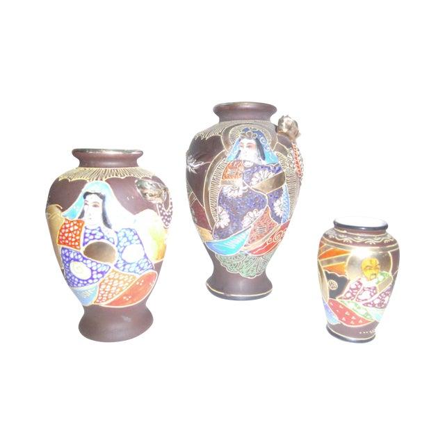 Vintage Japanese Satsuma Vases - Set of Three - Image 1 of 11
