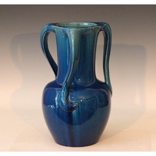 Art Nouveau Large Kyoto Pottery Antique Art Nouveau S Handled Blue Monochrome Vase For Sale - Image 3 of 10