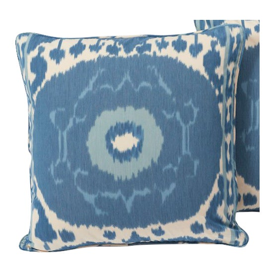 Schumacher Pillow in Samarkand Ikat Print For Sale