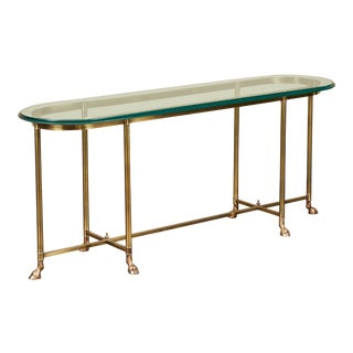 20th Century Jansen Style Brass & Glass Sofa Table For Sale