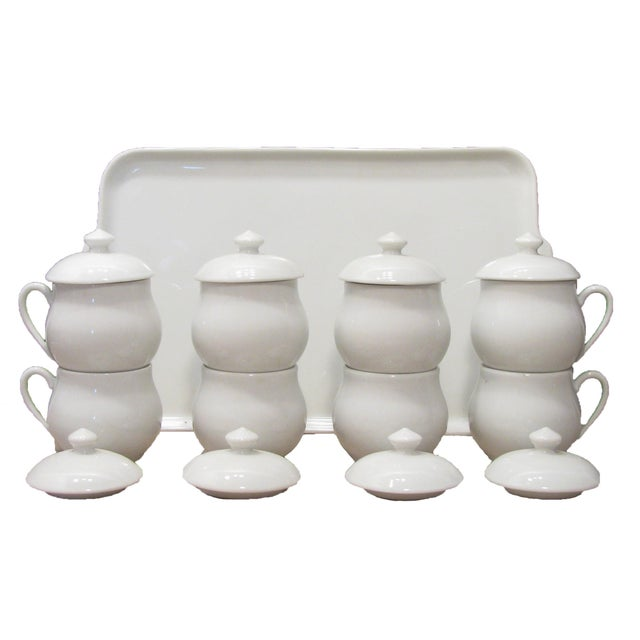 French French Porcelain Pots De Crème with Lids + Tray, S/9 For Sale - Image 3 of 7