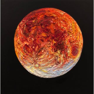 """""""Blue Blood Moon"""" Contemporary Celestial Oil Painting by Morgan Frew For Sale"""