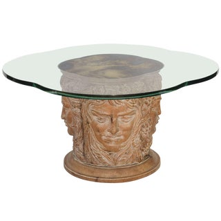 Four Seasons Carved Wood Cocktail Table with Eglomisé Top