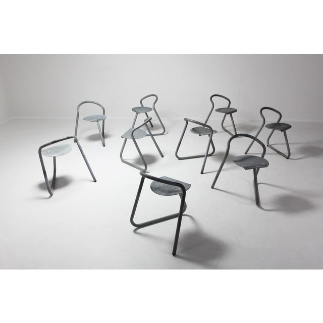 Danish Stackable Chairs in Galvanized Steel by Erik Magnussen For Sale - Image 11 of 12