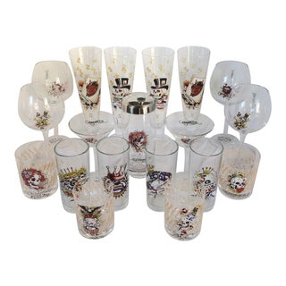 Don Ed Hardy Designs Glassware Collection - Set of 19 For Sale