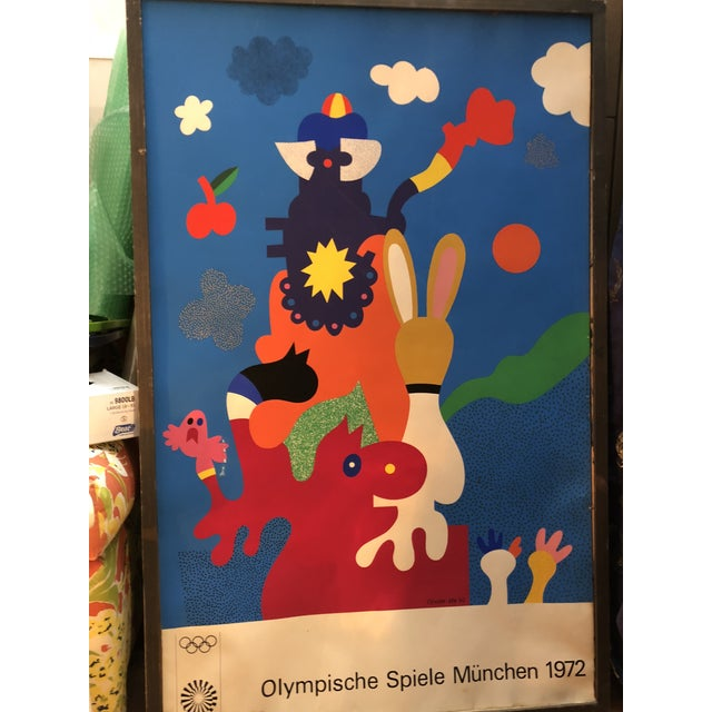 Gorgeous original large scale print from 1972 Munich Olympics. Vibrant and adorable. Last Call Items are on final markdown...