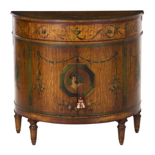 Circa 1930s Adam's Style Finely Painted Antique Demilune Cabinet by William Wholey Co. For Sale