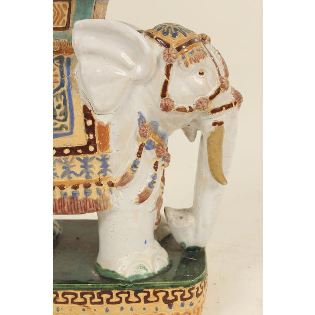 1980s Chinoiserie Polychrome Decorated Stoneware Elephant Form Garden Seats - a Pair For Sale In Los Angeles - Image 6 of 11