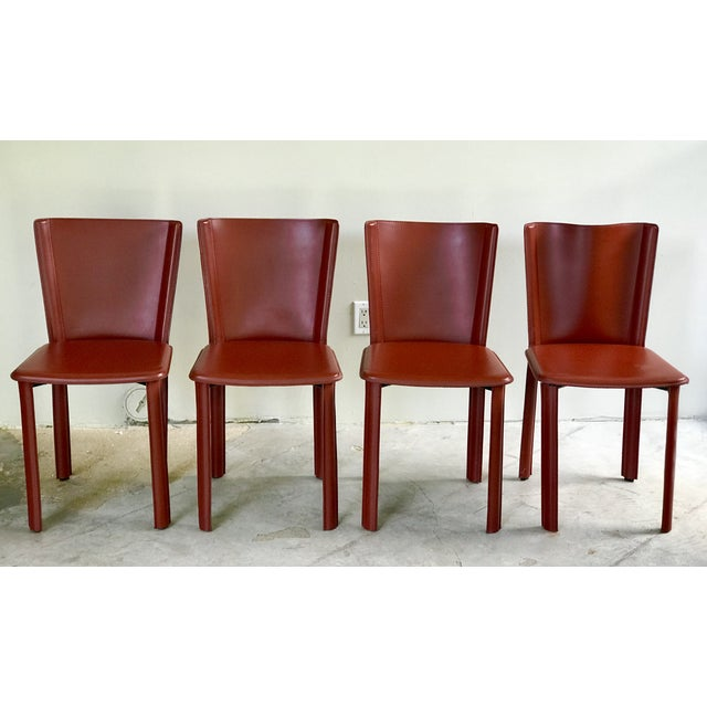"""Red DWR Red """"Bottega"""" Side Chairs - Set of 4 For Sale - Image 8 of 8"""
