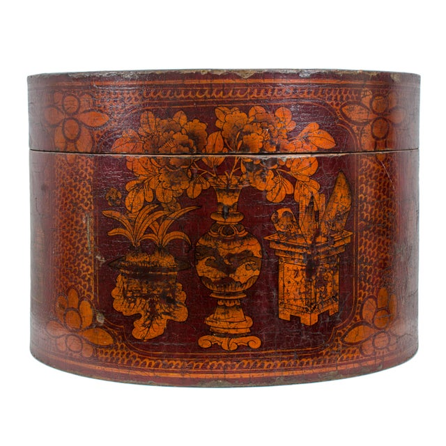 Red Qing Dynasty Red Lacquered Hat Box For Sale - Image 8 of 8