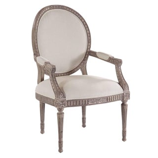 Swedish Oval-Back Dining Arm Chair For Sale