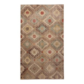 1950s Vintage Mid Century Beige-Brown and Blue Wool Rug With Red Accents For Sale