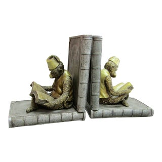 Metal Reading Monkeys on Books Bookends - a Pair For Sale