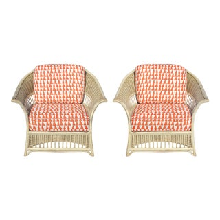 1980s Stately Key Furniture Co. Wicker Chairs- Pair For Sale