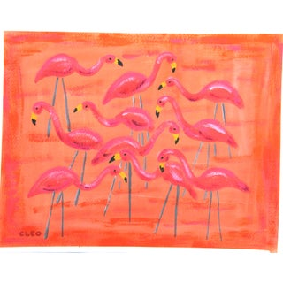 Lawn Flamingos in Apricot Landscape Painting by Cleo Plowden For Sale