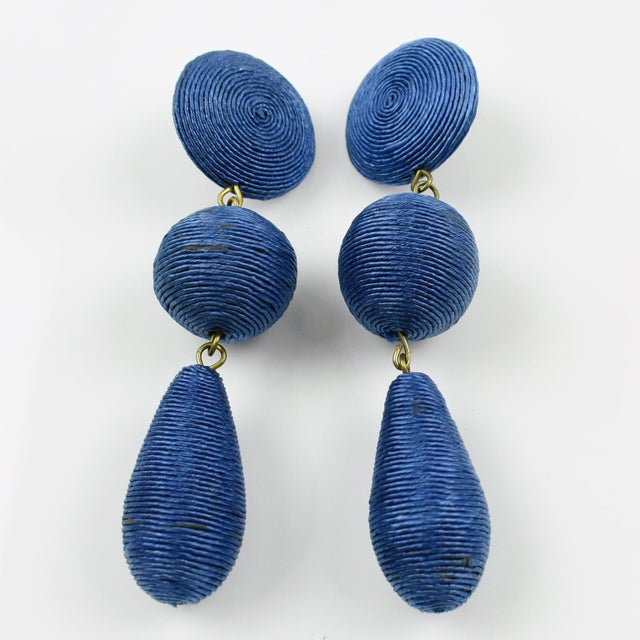 Italian 1980s Vintage Oversized Blue Thread Dangling Pierced Earrings For Sale - Image 3 of 6