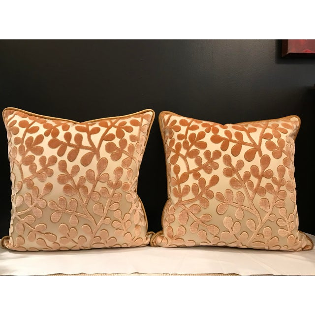 Feather Transitional Beacon Hill Summer Sonata Shell Silk Velvet Epingle Pillows - a Pair For Sale - Image 7 of 7