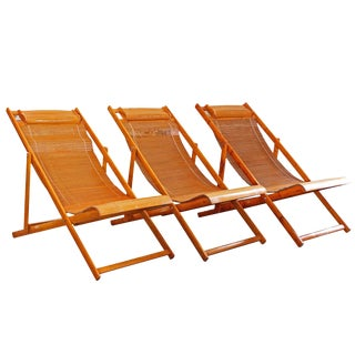 Vintage Japanese Bamboo Deck Outdoor Loungers - Set of 3