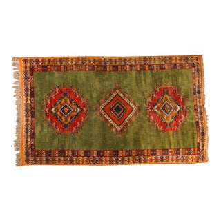 Vintage Moroccan Tribal Green and Orange Rug For Sale