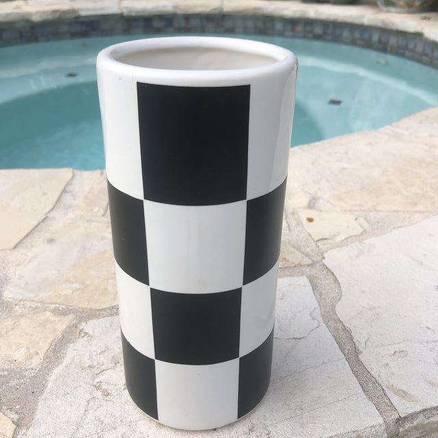 Black Vintage Haeger Black & White Checkerboard Cylindrical Vase For Sale - Image 8 of 9