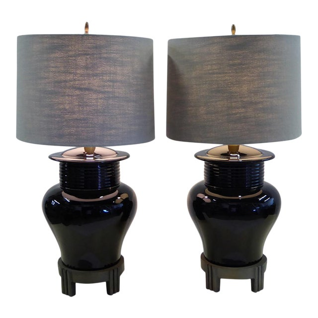 Chinese Deco Inspired Pair Large Scale Ginger Jar Table Lamps 1980s For
