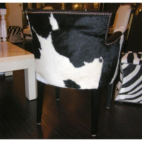 Animal Skin Pair of Custom Black and White Spotted Cowhide Deco Chairs For Sale - Image 7 of 8