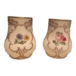 1940s Vintage Fenton Glass Vases - a Pair For Sale