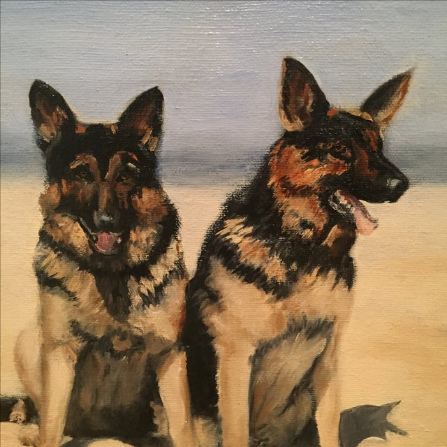 Unframed Oil Painting of Two German Shepards - Image 3 of 6