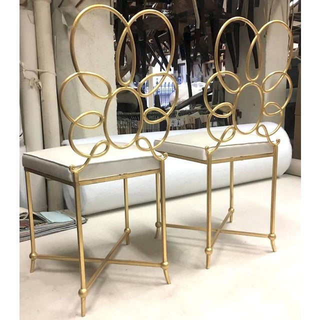 Hollywood Regency Rene Prou Rare Superb Witty Four-Flower Gold Leaf Wrought Iron Chairs in Silk For Sale - Image 3 of 6