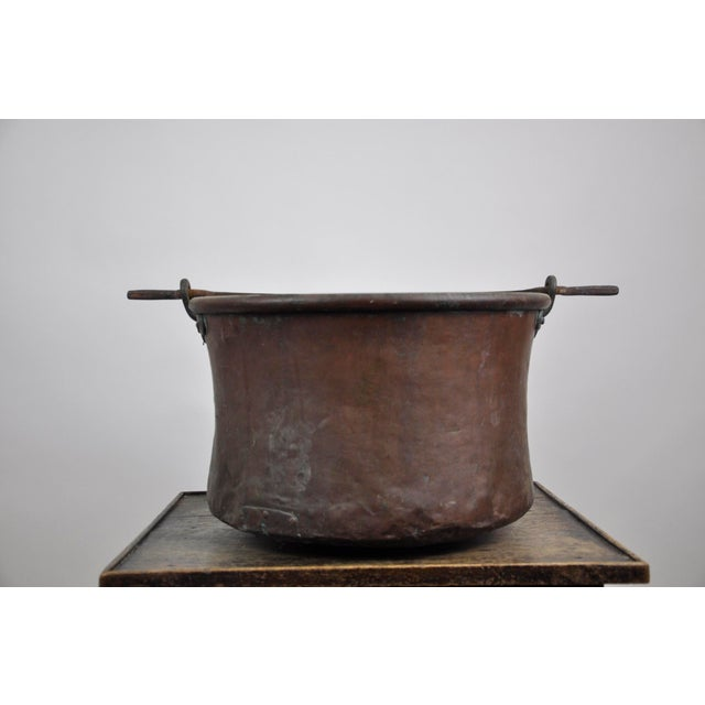 Beautifully preserved French copper cooking/decorative cauldron kettle. Nice patina and condition for age. Dimensions: W...