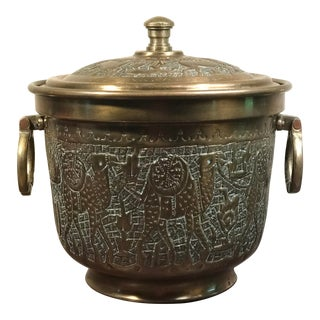1950s Boho Chic Persian Brass Ice Bucket For Sale