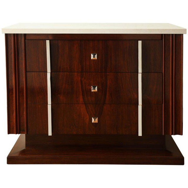 Silver Art Deco Rosewood Commode With Three Drawers and Travertine Top, France, 1940s For Sale - Image 8 of 8