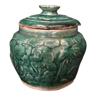 17th Century Chinese Ming Dynasty Green Glazed Celadon Pottery Lidded Ginger or Tobacco Jar For Sale