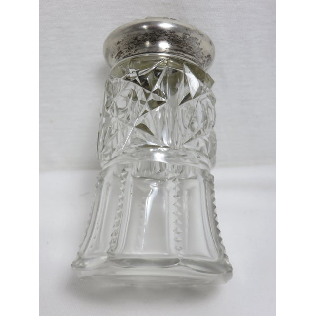 Victorian Early 20th Century Antique Wallace Silversmiths Crystal & Sterling Silver Sugar Shaker For Sale - Image 3 of 13