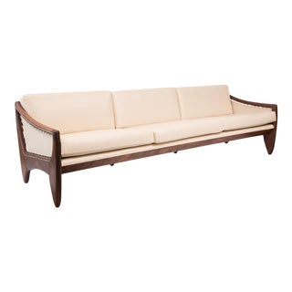 Mid-Century Modern Walnut & Leather Sofa After Allen Ditson For Sale