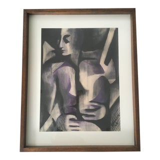 Vintage Mid-Century Modern Abstract Expressionism Cubism Man Charcoal Chalk Drawing For Sale