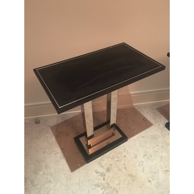 """Pair of Crate & Barrel Art Deco style chrome and black end tables. These have a good weight to them and are not """"tippy"""" at..."""