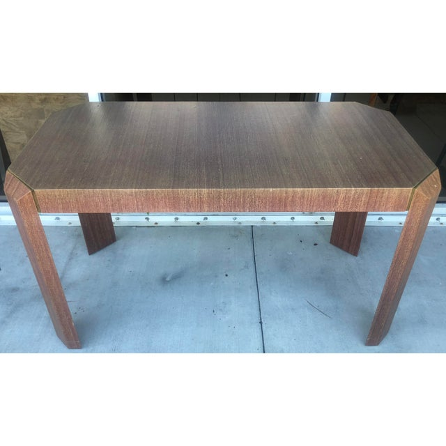 Linen Covered & Brass Details Desk For Sale In Miami - Image 6 of 8