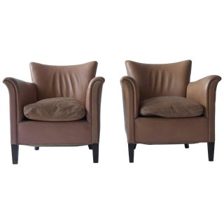 Pair of 1930s Danish Leather Club Chairs For Sale