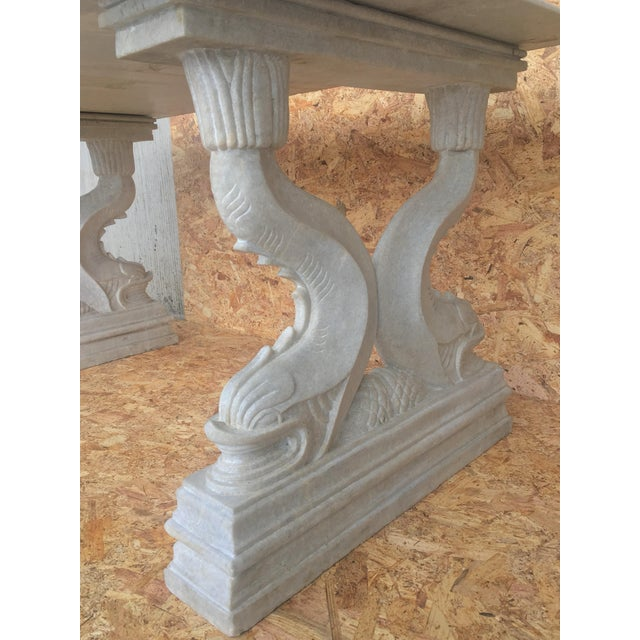 19th Italian Center or Dining Table in Carrara Marble For Sale - Image 11 of 13