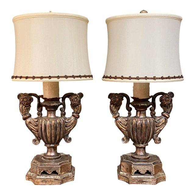Silver Gilt Pick Candlesticks as Lamps - a Pair For Sale