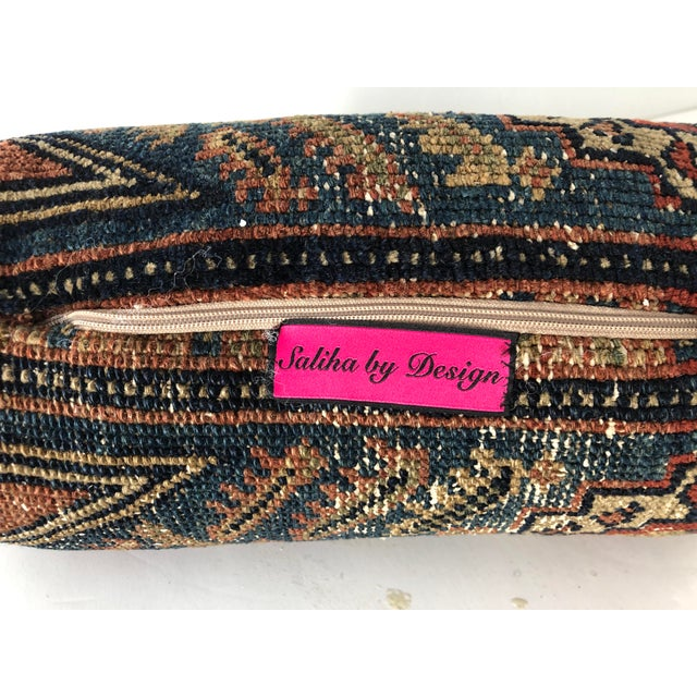 1920s Antique Persian Rug Bolster Pillow Saliha by Design For Sale - Image 5 of 6